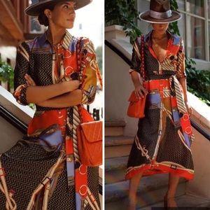 ZARA *retired* Silk Chain and Scarf dress